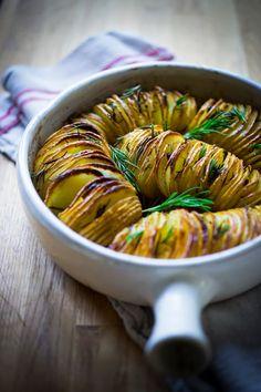 Rosemary Garlic Hasselback Potatoes. via feasting at home
