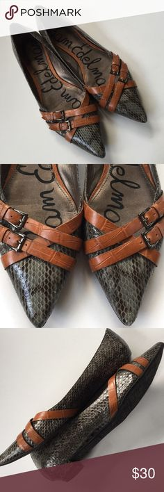 """EUC Sam Edelman leather flats Worn twice; Darling gray snakeskin leather with brown leather straps. 1/2"""" leather covered heel. Very minor scuff on one toe. Smoke-free/pet-free home. Sam Edelman Shoes Flats & Loafers"""