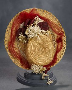 """""""What Finespun Threads"""" - Antique Doll Costumes, 1840-1925 - March 12, 2017: 116 Woven Straw Bonnet with Tulle and Floral Decoration"""