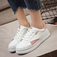 993c879f209 Lace-up Sneakers PU Flat Heel Shoes