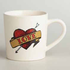 Our artfully detailed Love Tattoo Mug is the next best thing to the tattoo parlor. Perfect for Valentine's Day and beyond, this durable stoneware mug is a colorful way to show heartfelt emotions year-round - and even strong, silent types will love its big handle and no-frills design!