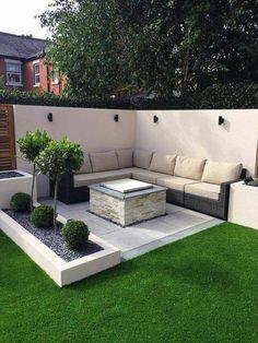 Simple Garden Designs, Modern Garden Design, Backyard Garden Design, Small Backyard Landscaping, Backyard Seating, Small Patio, Garden Seating, Landscaping Design, Modern Design
