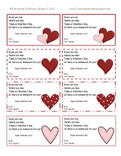 Free Homework passes to give to your students instead of candy or other Valentines during the holiday