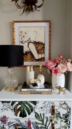 vintage glass pineapple lamp with pink flowers and candles
