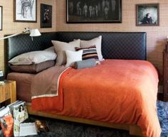 Black / brown / orange tween or teen boy bedroom. I like the leather corner bed - it looks good and can be used as a lounge/sofa during the day. Love the corner headboard! Corner Headboard, Bedroom Corner, Double Headboard, Bedroom Small, Leather Headboard, Twin Headboard, Leather Bed, Bedroom Modern, Small Bathroom
