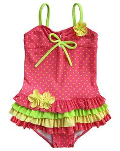 99172108bd937 Your toddler girl will look adorable in this vibrant coral, yellow and lime  Starfruit skirted swimsuit with flowers at chest and hip by boutique brand  ...