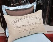 "French Country Burlap Pillow Cover - French Vintage Typography Burlap - 12"" x 18"" - Shabby Chic"