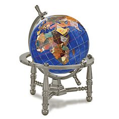 """Alexander Kalifano Gemstone Globe Opalite Ocean with Nautical 3-Leg Stand Finish: Antique Silver, Color: Caribbean Blue, Size: 3"""""""