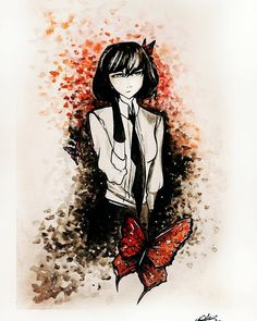 "#watercolor  #drawing #anime #bungostraydogs #butterflies #woman…"""