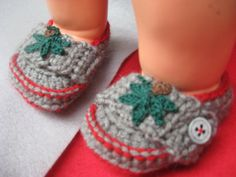 red and gray baby loafers by JanesCrafts4U on Etsy, $12.50