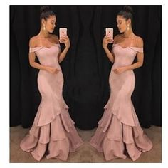 Elegant Off Shoulder Sexy Prom Dresses Tiered Ruffles Sweep Train Long Formal Gowns Mermaid Evening Dresses,Floor Length Evening Dresses,Zipper Women Party Gowns,Prom Dresses,Evening Gowns Prom Dresses Long Pink, Long Formal Gowns, Prom Dresses 2018, Mermaid Prom Dresses, Cheap Prom Dresses, Prom Dreses, Dresses 2016, Special Dresses, Bride Dresses