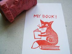 stamp my book handcarved ex libris stamp by alinear on Etsy, €18.00