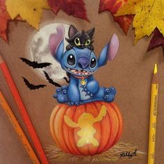 Happy Halloween!!! Who's trick or treating tonight!? Who went trick or treating last night?LOL!!  Have a Spoooooky weekend!!! #Stitch #halloween #drawing #repost #trickortreat #coloredpencil #prismacolor