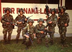 """75th Ranger Regiment in Panama in 1989 (Operation Just Cause) - overcoming unexpected resistance at the airport, the Rangers tore through the Panamanian Defense Force and secured a safe landing zone for the follow on forces...note the """"dreadlocks"""" on their helmets -"""