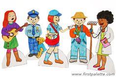 Community helper paper dolls: nurse, doctor, scientist, enginner, architect, firefighter, police, mail carrier, farmer, gardener, teacher, chef or cook, musician, dancer