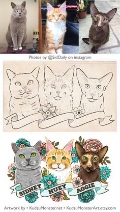 Custom cat portrait artwork by KudzuMonster British Short Hair , Maine Coon Cat, Oriental Cat Tattoo style art with flowers and custom colors