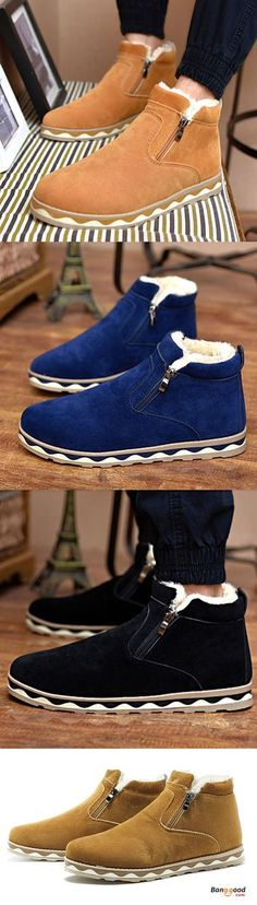 Winter Men Side Zipper Fur Lining Warm Plush Casual Boots Winter Boots Outfits, Winter Shoes, Casual Boots, Men Casual, Outfit Winter, Casual Menswear, Brown Chukka Boots, Clarks Boots, Vogue