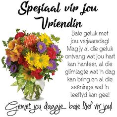 Mag jy al die geluk ontvang wat jou hart kan hanteer, al die glimlagte wat 'n dag kan bring en al die seëninge wat 'n leeftyd kan gee! Birthday Msgs, Birthday Prayer, Happy Birthday Ecard, Happy Brithday, Happy Birthday Pictures, Happy Birthday Messages, 50th Birthday, Best Birthday Wishes Quotes, Birthday Wishes For Myself