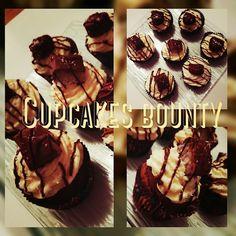 cupcakes façon bounty avec coeur coulis noix de coco