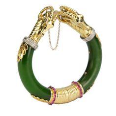 Birks of Canada Ram's Head Gold and Jade Bangle Bracelet Jade Jewelry, Jewelry Box, Jewelry Necklaces, Leather Jewelry, Jewellery, Bullet Necklace, Bullet Jewelry, Custom Jewelry, Vintage Jewelry