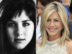 "Jennifer AnistonIt's Jennifer Aniston in 1987, from her senior year at LaGuardia High School of Music & the Arts in New York City -- other notable alumni include Al Pacino, Robert De Niro, Ellen Barkin and Sarah Michelle Gellar. Though she looks demure in the yearbook, Aniston has told People that her high school look was ""a mini-mohawk, just above my ears and lots of liquid eyeliner."""