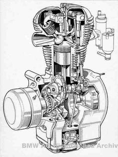 Illustrations of some BMW motorcycle engines. Line drawings, cutaways, and renderings. Bmw Isetta, Bmw Boxer, Technical Illustration, Technical Drawing, Ford Gt, Audi Tt, Bmw M5, Baggers, Motorbike Parts