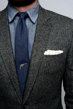Tweed blazer with chambray shirt