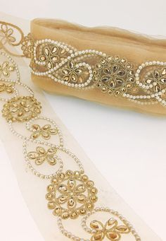 45mm Embroidered Paisley Trim//Lace with Diamante x 1 Metre 15 Colours