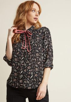 #ModCloth - #ModCloth Long Sleeve Top with Trimmed Tie in Music Notes in S - AdoreWe.com