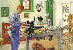 """Carl Larsson """"Min etsarverkstad"""" (1910). Carl köpte sig våren 1907 en fastighet i Falun där man inrättade ett skolhushåll för barnen. Några år senare köpte han en stuga på granntomten som blev hans etsarverkstad. Akvarell. Helsingborgs museum."""