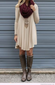 Nude dress and burgundy scarf