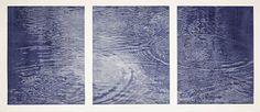 "Franz Gertsch ~ ""Schwarzwasser"" triptych (1991/92) Woodcut  midnight blue | Hand-printed 3 sheets on Kumohadamashi Japanese paper by Ivano Heizaburo,  Museum Franz Gertsch, Burgdorf © Franz Gertsch via foederales-programm.de"