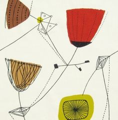 """""""Lucienne Day Perpetua fabric  The print was designed in the 1950s and has been re-issued. Perfect for a cushion or for framing 50cm x 50cm (approx) which is a complete repeat."""" £10 I would love to have a cushion made from this! :)"""