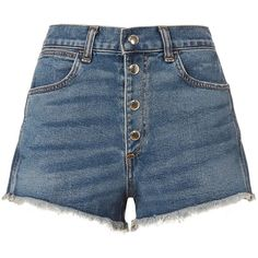 Rag & Bone Women's Lou Button Fly Shorts (905 RON) ❤ liked on Polyvore featuring shorts, denim, cut-off shorts, blue high waisted shorts, high waisted cut off shorts, denim cutoff shorts and high-waisted jean shorts