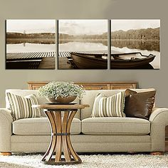 Stretched Canvas Art Landscape Lake Boat Set of 3 – USD $ 69.99