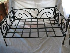 Cute Wrought Iron Dog Bed Frame with Scrolls and by DustyBandit, $50.00