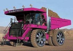 Pink rock truck