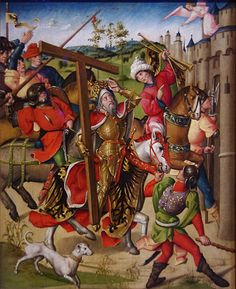 https://flic.kr/p/cxNde5 | Emperor Heraclius denied entry into Jerusalem | Netherlandish, 1460-80.  Once Heraclius recovered the True Cross from the Persians, he brought it back to Jerusalem in 629.  However, an angel refused him entry until he dismounted and entered humbly.  Or so the story goes.  All I can say is, that dog is the weirdest greyhound/dachshund cross I've ever seen.  It's going to have back problems some day.  Harding Collection, Chicago Institute of Art.