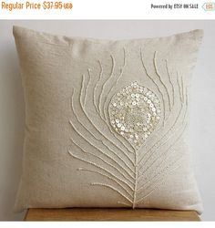Decorative Throw Pillow Covers Accent Couch Toss Sofa Pillows Linen Mother Of Pearl Embroidered Pillow Case - Pearly Peacock Feather - Home Decoration Ideas Designer Throw Pillows, Cushions On Sofa, Beige Sofa, Sewing Pillows, Diy Pillows, Decorative Throw Pillows, Sofa Pillow Covers, Floral Pillows, Hand Embroidery