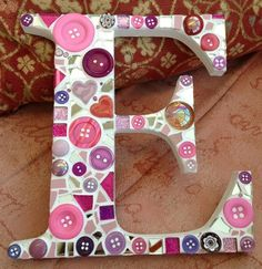 Found Objects Mosaic  --  Letters - lily mosaics