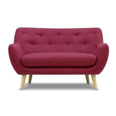 Canapé 2 places fixe framboise Rouge - Poppy Meuble - Canapés en tissu - Canapés et banquettes - Salon et salle à manger - Décoration d'intérieur - Alinéa