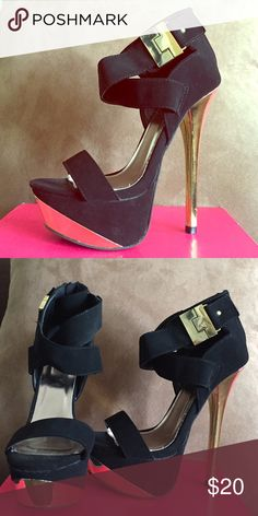 Charlette Russe heels These heels are so hot! Perfect for a night out ! **Only worn once ** Black ankle strap , with gold detailing on the side , front and heel . Shoes Heels