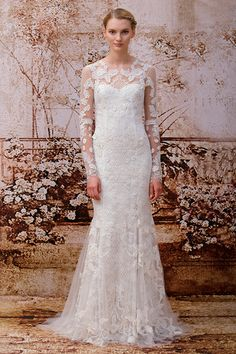Monique Lhuillier-Fall Winter 2014 HEIRLOOM - IVORY CHANTILLY LACE LONG SLEEVE ILLUSION MODIFIED TRUMPET GOWN WITH TRELLIS