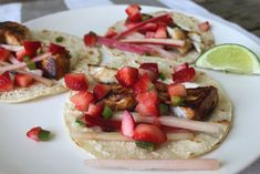 Fish Tacos with Quick Pickled Rhubarb and Strawberry Salsa — Chase the Flavors