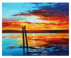 SUNSET PAINTING OIL Palette Knife Seascape  Fine Art Gercken