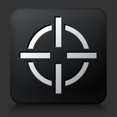Black Square Button with Target Aim vector art illustration