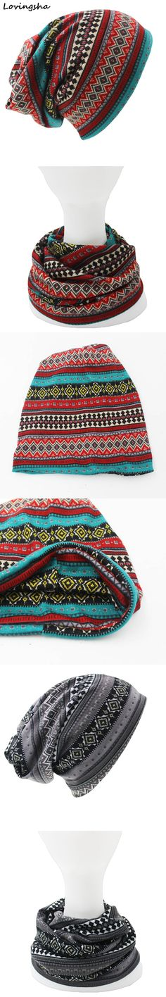 Fashion Brand Herbst Winter Doppeltem verwendungszweck Hüte Für Damen dünne Skullies Beanies Vintage Geometrische Design Frauen Schal Gesichtsmaske HT026 $4.99
