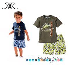 Conjunto Dino  T-shirt + calções Cor: Verde militar Tamanhos: 2A - 6A  Preço: 15,50€ Por Encomenda http://www.rostore.eu/pt/203-conjunto-dino.html