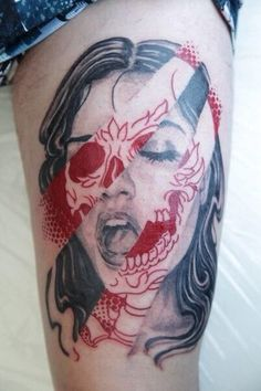 Scary Girl Face Tattoo On Thigh