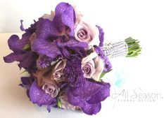 Purple Orchids and Rose